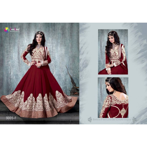 RED STUNNING AYESHA TAKIA-9005-A ANARKALI WEDDING DRESS