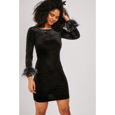 Black Fur Trim Velveteen Dress
