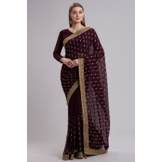 MAROON MEHNDI WEAR INDIAN READY TO WEAR SAREE