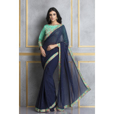 NAVY BLUE AND RAMA GREEN TWO TONE PARTY STYLE SAREE