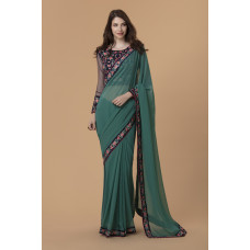 GREEN ETHNIC DESIGNER READYMADE SAREE