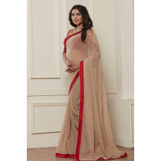 BEIGE AND RED INDIAN DESIGNER PARTY WEAR SAREE