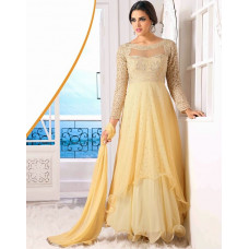 Cream WEDDING WEAR GEORGETTE & NET LONG ANARKALI SUIT