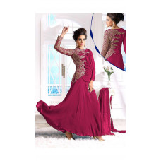 PINK WEDDING WEAR GEORGETTE & NET LONG ANARKALI SUIT