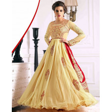 Yellow and Red WEDDING WEAR GEORGETTE & NET LONG ANARKALI SUIT