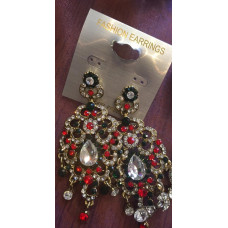STUNNING INDIAN RED AND GREEN WEDDING EARRINGS