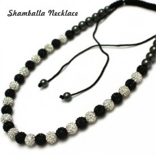 Beautiful Full Black & White Unisex Crystal Shamballa Necklace.