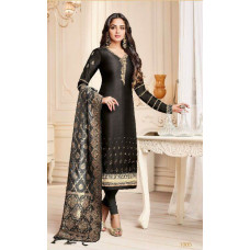 BLACK STRAIGHT INDIAN FESTIVE STYLE CHURIDAR SUIT