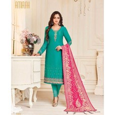 TURQUOISE INDIAN PARTY WEAR DESIGNER CHURIDAR SUIT