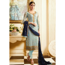 SKY BLUE DESIGNER WEDDING SALWAR SUIT