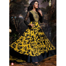 3028 Yellow and Black Gorgeous Asin Printed Georgette Anarkali Style Suit