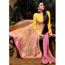 3031 Yellow and Pink Gorgeous Asin Printed Georgette Anarkali Style Suit