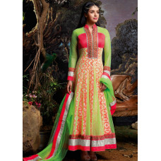 3032 Red and Green Gorgeous Asin Printed Georgette Anarkali Style Suit