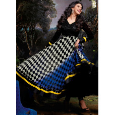 3033 Black and White Gorgeous Asin Printed Georgette Anarkali Style Suit