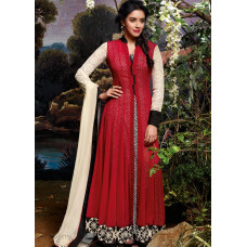 3034 Red and White Gorgeous Asin Printed Georgette Anarkali Style Suit
