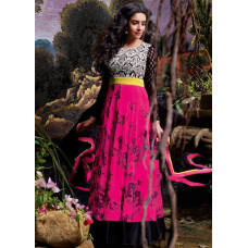 3035 Pink and Black Gorgeous Asin Printed Georgette Anarkali Style Suit