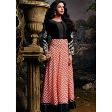 3036 Red and Black Gorgeous Asin Printed Georgette Anarkali Style Suit