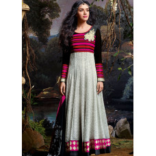 3037 Grey and Black Gorgeous Asin Printed Georgette Anarkali Style Suit