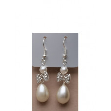 Beautiful Bow Crystal Design And Pearl Drops Earrings