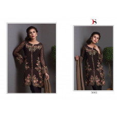 51002 DARK BROWN BAROQUE PAKISTANI DESIGNER STYLE READY MADE SUIT