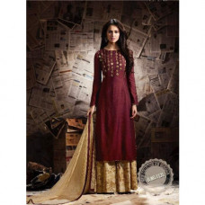 1135 MAROON AND GOLD MUGDHA BEAUTIFUL EMBROIDERED WEDDING WEAR DRESS