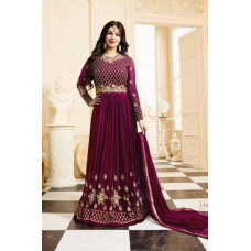 17001 PLUM GLOSSY SIMAR HEAVY EMBROIDERED ANARKALI STYLE GOWN