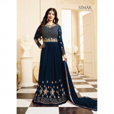 17001-A BLUE GLOSSY SIMAR HEAVY EMBROIDERED ANARKALI STYLE GOWN