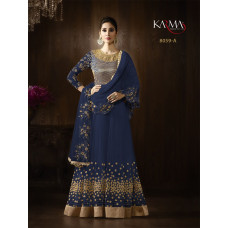 NAVY BLUE KARMA HEAVY GOLD EMBROIDERED INDIAN WEAR GOWN