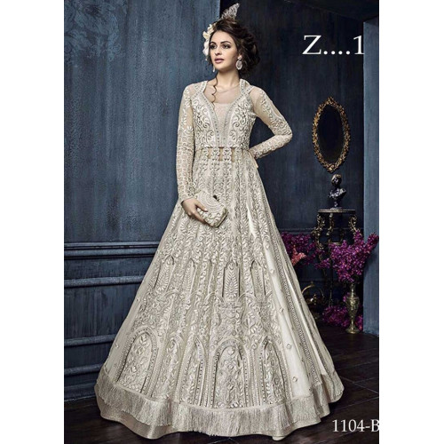 22004 D OFF WHITE EMBROIDERED INDIAN BRIDAL WESTERN STYLE LEHENGA