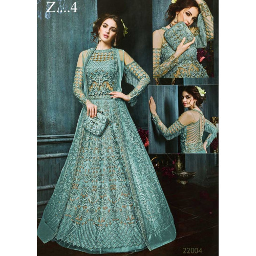 270ac2bed76249 22003-D TURQUOISE HEAVY EMBROIDERED INDIAN BRIDESMAID WEDDING DRESS