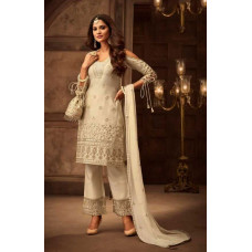 CREAM COLD SHOULDER SALWAR SUIT DRESS WITH DORI SLEEVES