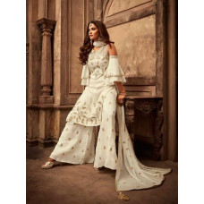 LAVISHING NEW COLD SHOULDER OFF WHITE SHARARA SUIT