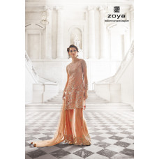 12001-A ORGINIAL PEACH ZOYA SHADES WEDDING LENGHA SUIT 4 PIECE SUIT